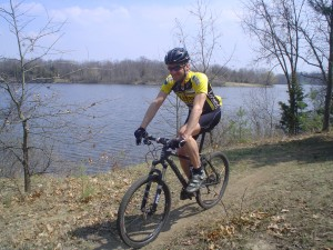 Alex Dolpp rides on the Milford Trail in Milford, Michigan
