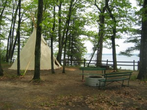 Tipi camping at Michigan\'s Interlochen State Park