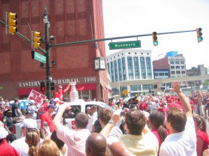 Nicklas Lidstrom with the Stanley Cup during the 2008 Red Wings Parade
